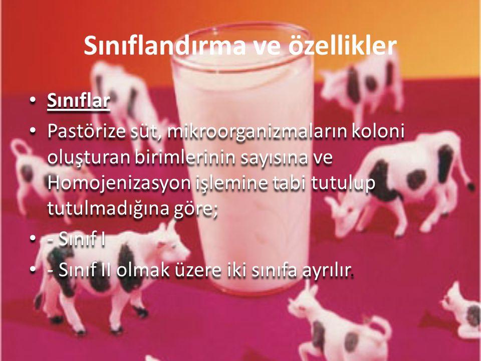 Sınıflandırma ve özellikler Sınıflar Pastörize süt, mikroorganizmaların koloni oluşturan birimlerinin sayısına ve Homojenizasyon işlemine tabi tutulup