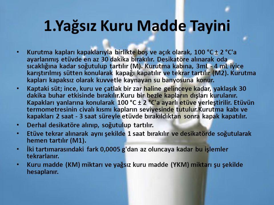 Yağsız Kuru Madde Miktarı Hesaplaması KM = M 1 - M 2 M 1 –M M 2 -M Burada; KM : Yüzde kuru madde miktarı, M 1 : Kurutma kabı ve kalıntının kütlesi, g, M : Kurutma kabı kütlesi, g, M2 : Numune ve kurutma kabı kütlesi, gram dır.