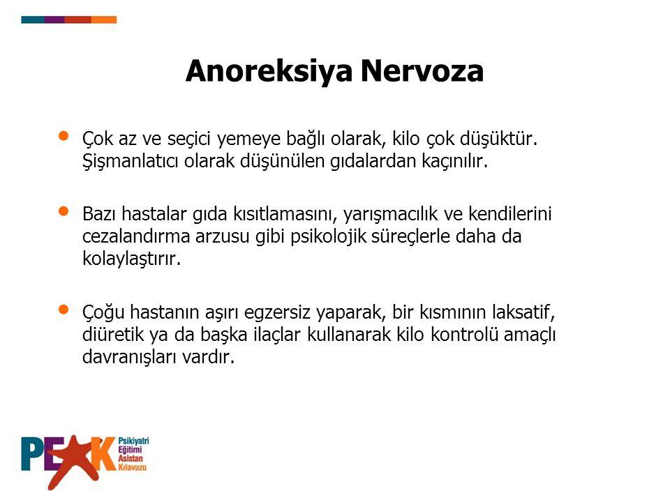 Anoreksiya Nervoza Çok az ve seçici yemeye bağlı olarak, kilo çok düşüktür. Şişmanlatıcı olarak düşünülen gıdalardan kaçınılır. Bazı hastalar gıda kıs