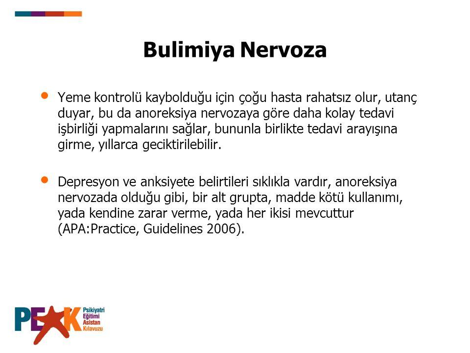 Bulimiya Nervoza Yeme kontrolü kaybolduğu için çoğu hasta rahatsız olur, utanç duyar, bu da anoreksiya nervozaya göre daha kolay tedavi işbirliği yapm