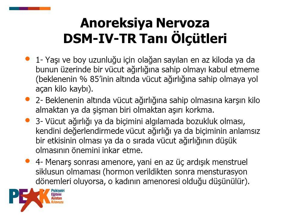 Anoreksiya Nervoza DSM-IV-TR Tanı Ölçütleri 1- Yaşı ve boy uzunluğu için olağan sayılan en az kiloda ya da bunun üzerinde bir vücut ağırlığına sahip o