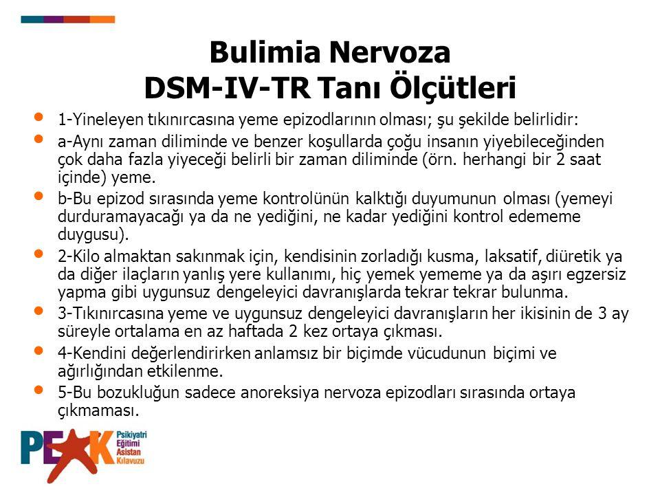 Bulimia Nervoza DSM-IV-TR Tanı Ölçütleri 1-Yineleyen tıkınırcasına yeme epizodlarının olması; şu şekilde belirlidir: a-Aynı zaman diliminde ve benzer
