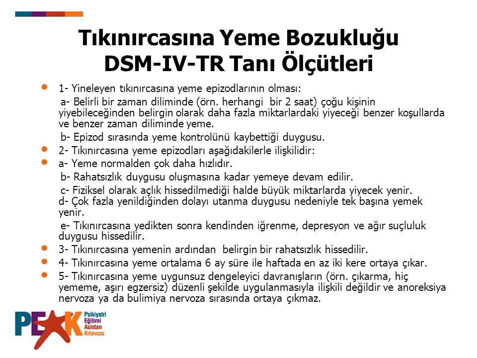 Tıkınırcasına Yeme Bozukluğu DSM-IV-TR Tanı Ölçütleri 1- Yineleyen tıkınırcasına yeme epizodlarının olması: a- Belirli bir zaman diliminde (örn. herha