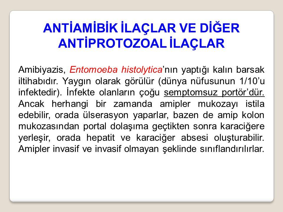 ANTİAMİBİK İLAÇLAR VE DİĞER ANTİPROTOZOAL İLAÇLAR Amibiyazis, Entomoeba histolytica'nın yaptığı kalın barsak iltihabıdır. Yaygın olarak görülür (dünya