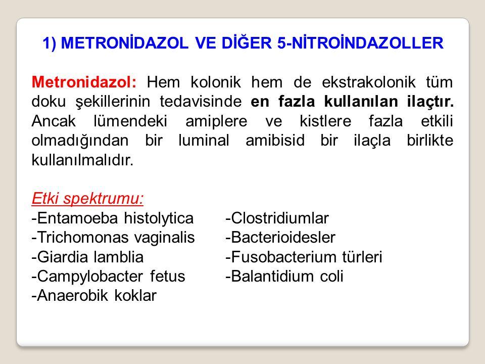 1) METRONİDAZOL VE DİĞER 5-NİTROİNDAZOLLER Metronidazol: Hem kolonik hem de ekstrakolonik tüm doku şekillerinin tedavisinde en fazla kullanılan ilaçtı