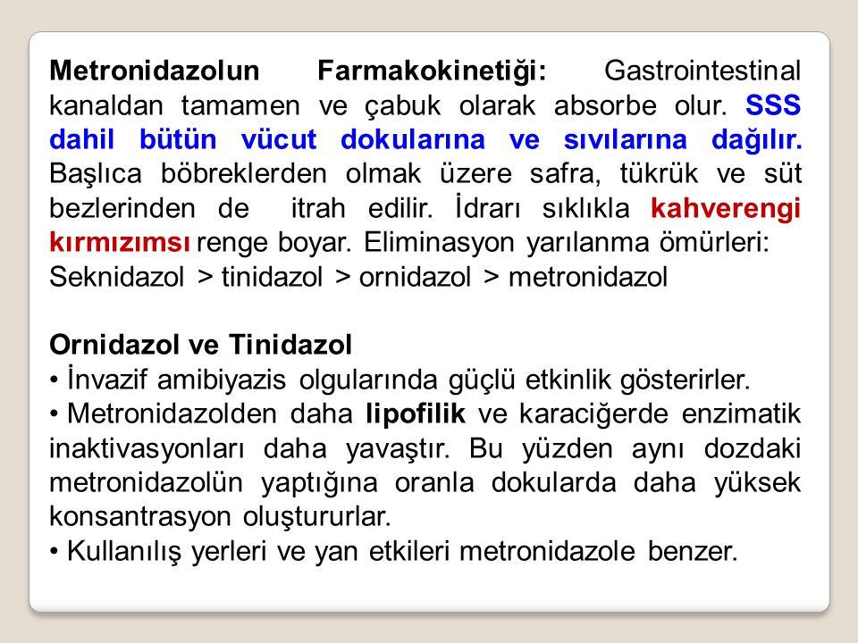 Metronidazolun Farmakokinetiği: Gastrointestinal kanaldan tamamen ve çabuk olarak absorbe olur. SSS dahil bütün vücut dokularına ve sıvılarına dağılır