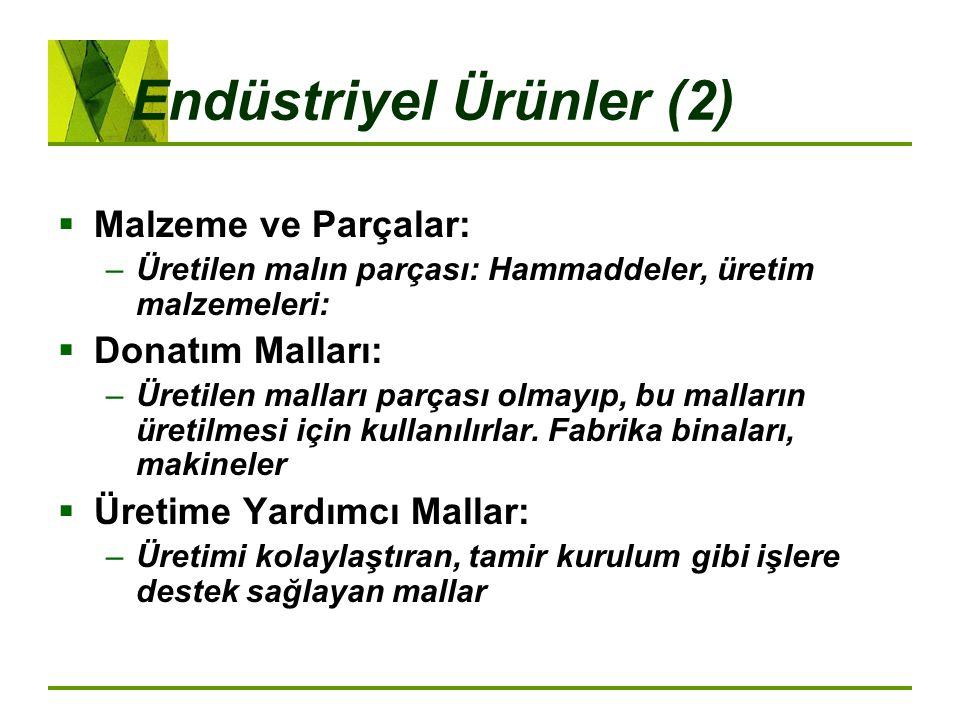 Endüstriyel Ürünler (2)  Malzeme ve Parçalar: –Üretilen malın parçası: Hammaddeler, üretim malzemeleri:  Donatım Malları: –Üretilen malları parçası