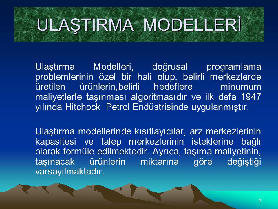 1 ULAŞTIRMA MODELLERİ Ulaştırma Modelleri, doğrusal programlama problemlerinin özel bir hali olup, belirli merkezlerde üretilen ürünlerin,belirli hede