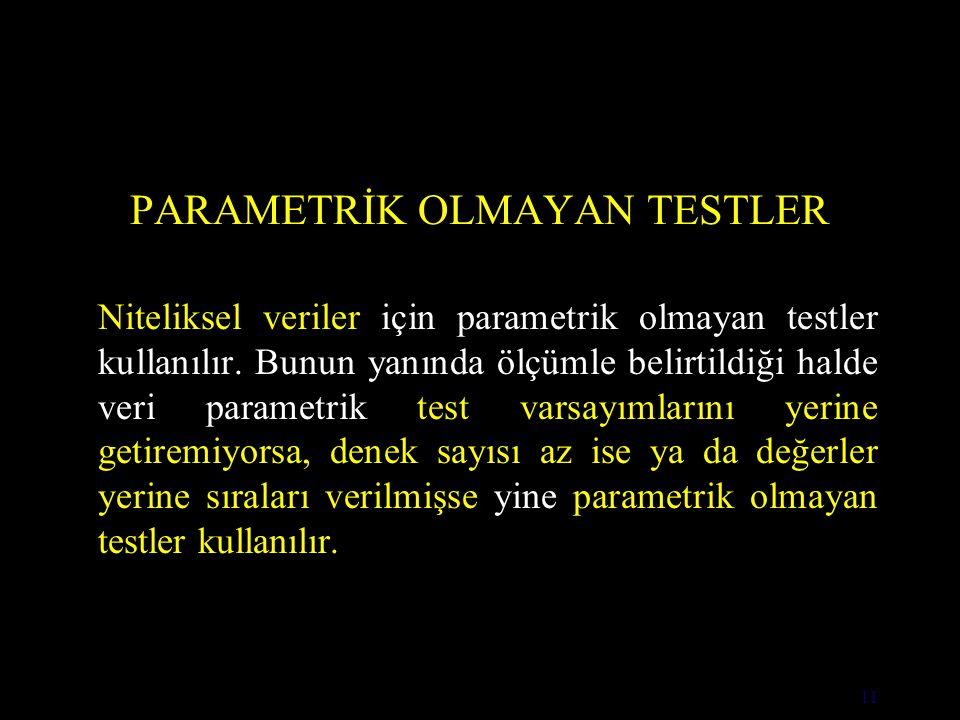 11 PARAMETRİK OLMAYAN TESTLER Niteliksel veriler için parametrik olmayan testler kullanılır.