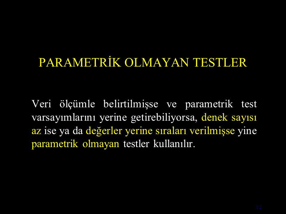 12 PARAMETRİK OLMAYAN TESTLER Veri ölçümle belirtilmişse ve parametrik test varsayımlarını yerine getirebiliyorsa, denek sayısı az ise ya da değerler yerine sıraları verilmişse yine parametrik olmayan testler kullanılır.