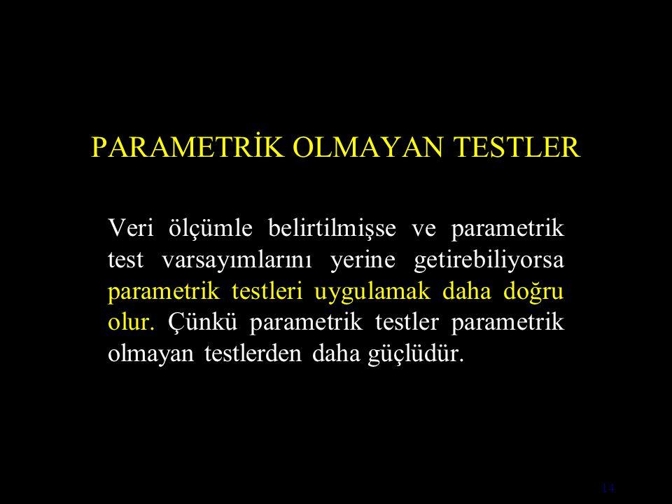14 PARAMETRİK OLMAYAN TESTLER Veri ölçümle belirtilmişse ve parametrik test varsayımlarını yerine getirebiliyorsa parametrik testleri uygulamak daha doğru olur.