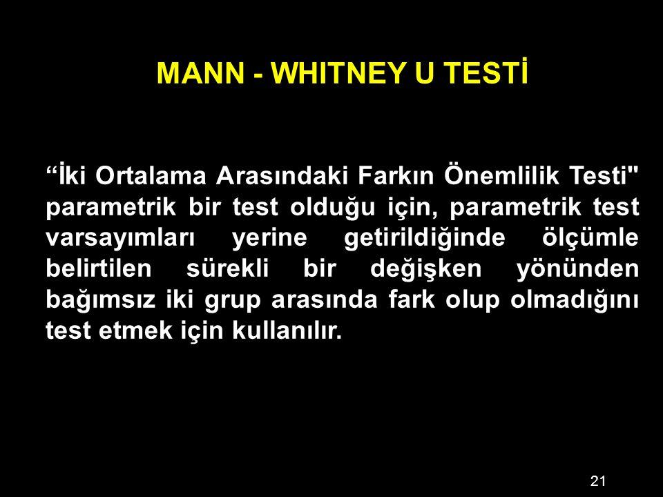 21 MANN - WHITNEY U TESTİ İki Ortalama Arasındaki Farkın Önemlilik Testi parametrik bir test olduğu için, parametrik test varsayımları yerine getirildiğinde ölçümle belirtilen sürekli bir değişken yönünden bağımsız iki grup arasında fark olup olmadığını test etmek için kullanılır.