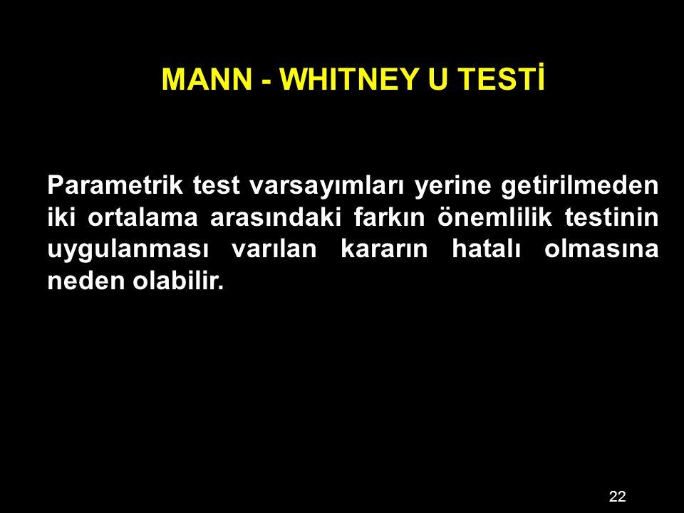 22 MANN - WHITNEY U TESTİ Parametrik test varsayımları yerine getirilmeden iki ortalama arasındaki farkın önemlilik testinin uygulanması varılan kararın hatalı olmasına neden olabilir.