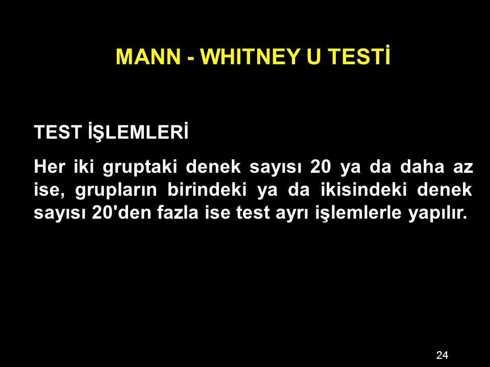 24 MANN - WHITNEY U TESTİ TEST İŞLEMLERİ Her iki gruptaki denek sayısı 20 ya da daha az ise, grupların birindeki ya da ikisindeki denek sayısı 20 den fazla ise test ayrı işlemlerle yapılır.