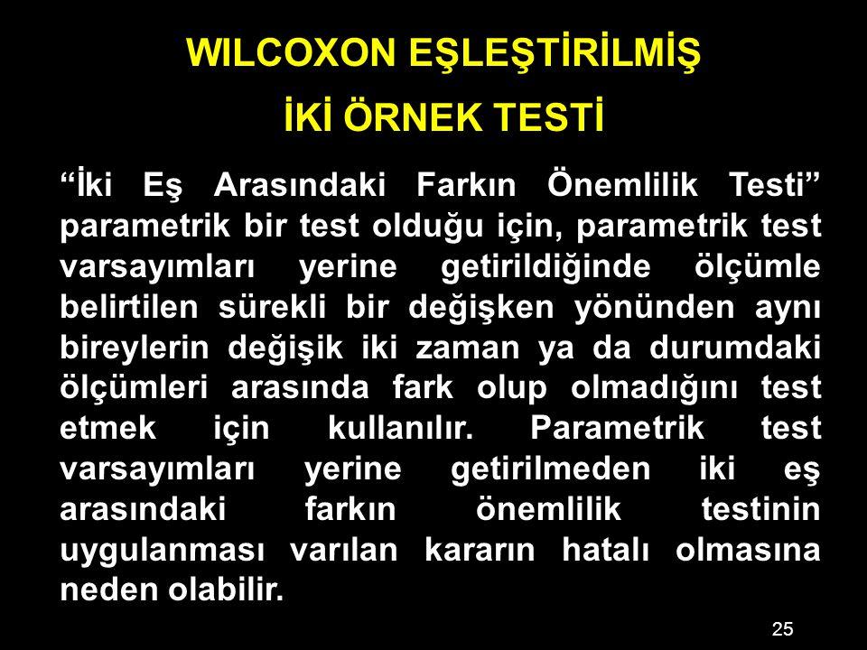 25 WILCOXON EŞLEŞTİRİLMİŞ İKİ ÖRNEK TESTİ İki Eş Arasındaki Farkın Önemlilik Testi parametrik bir test olduğu için, parametrik test varsayımları yerine getirildiğinde ölçümle belirtilen sürekli bir değişken yönünden aynı bireylerin değişik iki zaman ya da durumdaki ölçümleri arasında fark olup olmadığını test etmek için kullanılır.