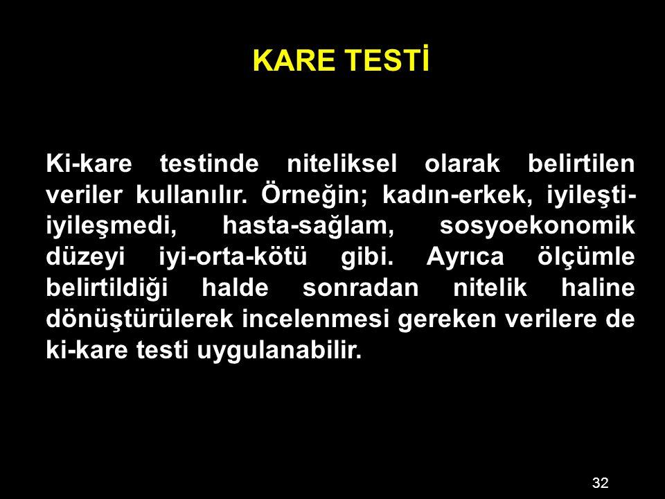 32 KARE TESTİ Ki-kare testinde niteliksel olarak belirtilen veriler kullanılır.