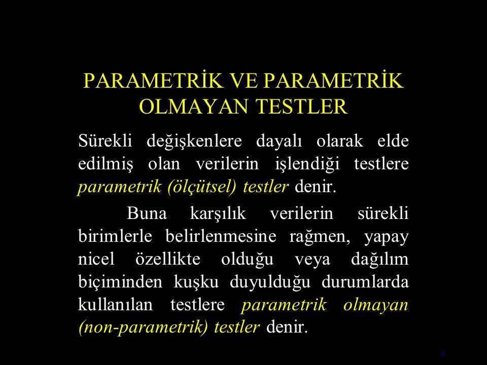 6 PARAMETRİK VE PARAMETRİK OLMAYAN TESTLER Sürekli değişkenlere dayalı olarak elde edilmiş olan verilerin işlendiği testlere parametrik (ölçütsel) testler denir.