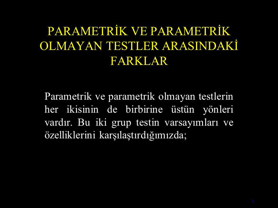 8 PARAMETRİK VE PARAMETRİK OLMAYAN TESTLER ARASINDAKİ FARKLAR Parametrik ve parametrik olmayan testlerin her ikisinin de birbirine üstün yönleri vardır.