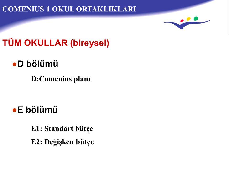 COMENIUS 1 OKUL ORTAKLIKLARI ●D bölümü D:Comenius planı ●E bölümü E1: Standart bütçe TÜM OKULLAR (bireysel) E2: Değişken bütçe