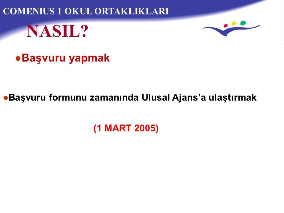 COMENIUS 1 OKUL ORTAKLIKLARI ●Başvuru formunu zamanında Ulusal Ajans'a ulaştırmak NASIL.