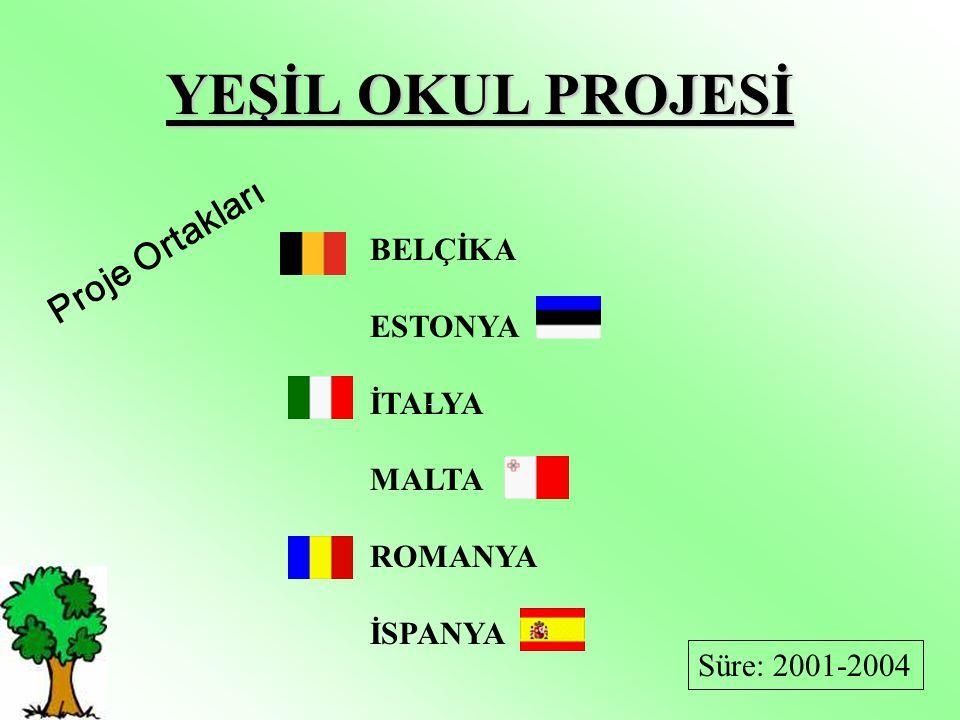 YEŞİL OKUL PROJESİ BELÇİKA ESTONYA İTALYA MALTA ROMANYA İSPANYA Proje Ortakları Süre: 2001-2004