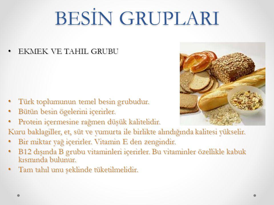 BESİN GRUPLARI EKMEK VE TAHIL GRUBU EKMEK VE TAHIL GRUBU Türk toplumunun temel besin grubudur. Türk toplumunun temel besin grubudur. Bütün besin ögele