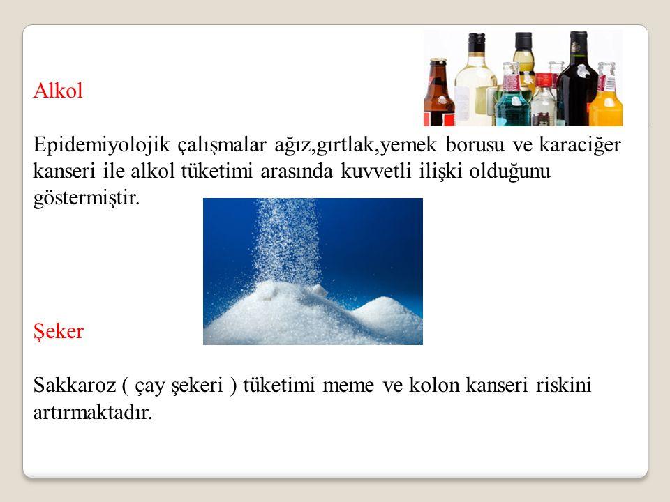 Alkol Epidemiyolojik çalışmalar ağız,gırtlak,yemek borusu ve karaciğer kanseri ile alkol tüketimi arasında kuvvetli ilişki olduğunu göstermiştir. Şeke