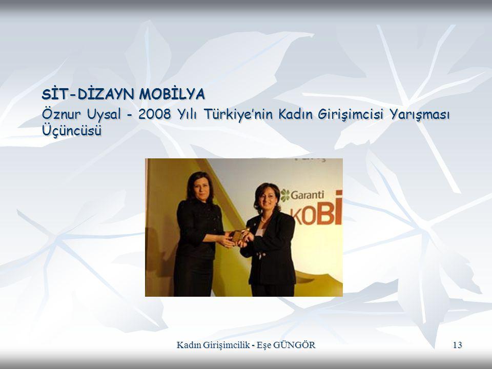Kadın Girişimcilik - Eşe GÜNGÖR 13 SİT-DİZAYN MOBİLYA Öznur Uysal - 2008 Yılı Türkiye'nin Kadın Girişimcisi Yarışması Üçüncüsü