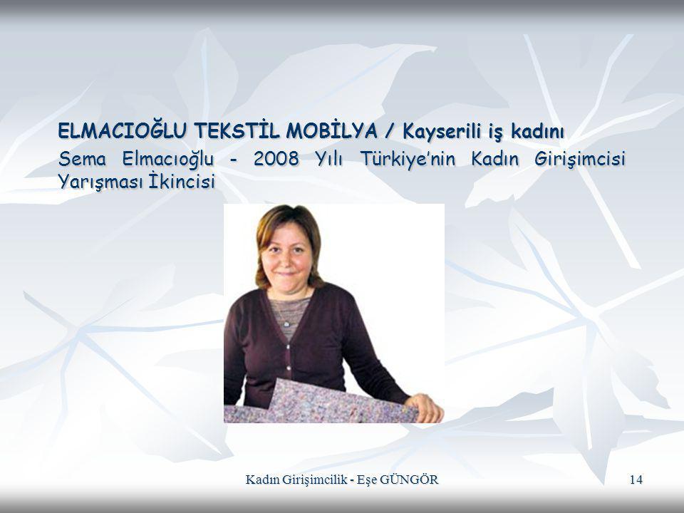 Kadın Girişimcilik - Eşe GÜNGÖR 14 ELMACIOĞLU TEKSTİL MOBİLYA / Kayserili iş kadını Sema Elmacıoğlu - 2008 Yılı Türkiye'nin Kadın Girişimcisi Yarışmas