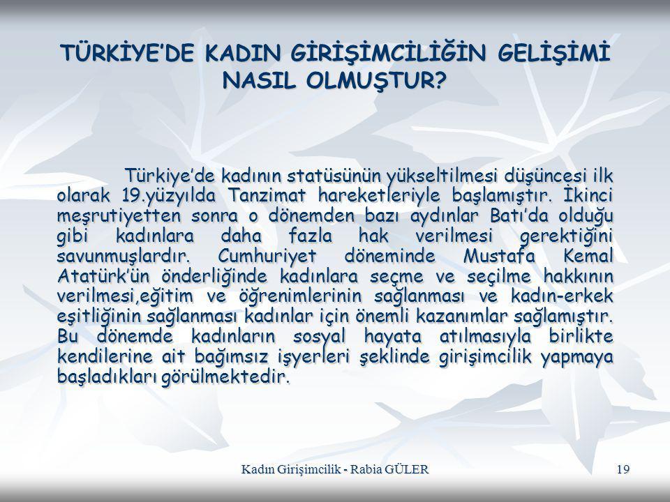 Kadın Girişimcilik - Rabia GÜLER 19 TÜRKİYE'DE KADIN GİRİŞİMCİLİĞİN GELİŞİMİ NASIL OLMUŞTUR? Türkiye'de kadının statüsünün yükseltilmesi düşüncesi ilk