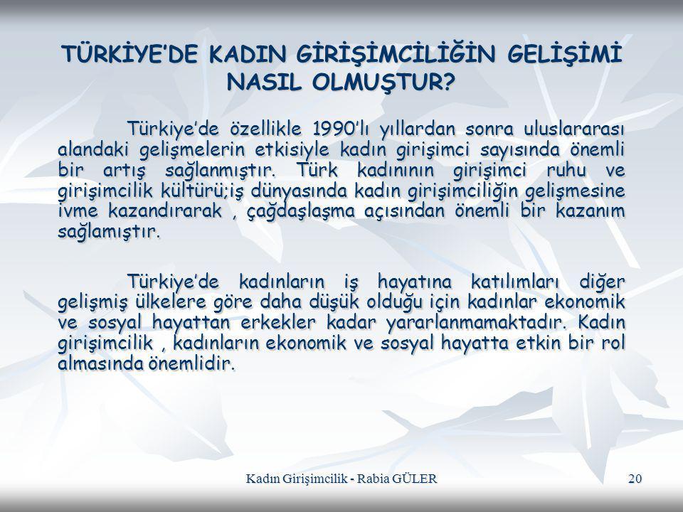 Kadın Girişimcilik - Rabia GÜLER 20 TÜRKİYE'DE KADIN GİRİŞİMCİLİĞİN GELİŞİMİ NASIL OLMUŞTUR? Türkiye'de özellikle 1990'lı yıllardan sonra uluslararası