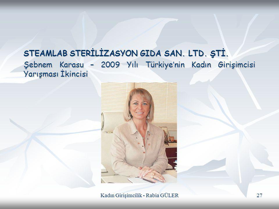 Kadın Girişimcilik - Rabia GÜLER 27 STEAMLAB STERİLİZASYON GIDA SAN. LTD. ŞTİ. Şebnem Karasu – 2009 Yılı Türkiye'nin Kadın Girişimcisi Yarışması İkinc