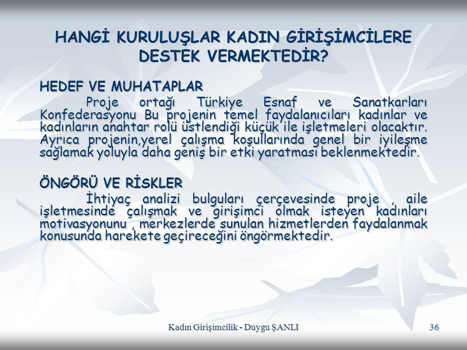 Kadın Girişimcilik - Duygu ŞANLI 36 HANGİ KURULUŞLAR KADIN GİRİŞİMCİLERE DESTEK VERMEKTEDİR? HEDEF VE MUHATAPLAR Proje ortağı Türkiye Esnaf ve Sanatka
