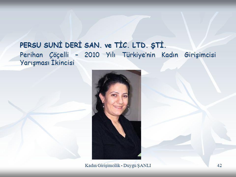 Kadın Girişimcilik - Duygu ŞANLI 42 PERSU SUNİ DERİ SAN. ve TİC. LTD. ŞTİ. Perihan Çöçelli – 2010 Yılı Türkiye'nin Kadın Girişimcisi Yarışması İkincis