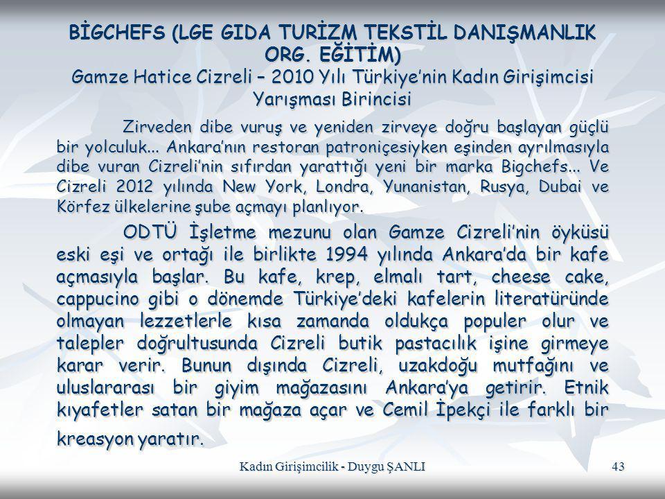 Kadın Girişimcilik - Duygu ŞANLI 43 BİGCHEFS (LGE GIDA TURİZM TEKSTİL DANIŞMANLIK ORG. EĞİTİM) Gamze Hatice Cizreli – 2010 Yılı Türkiye'nin Kadın Giri