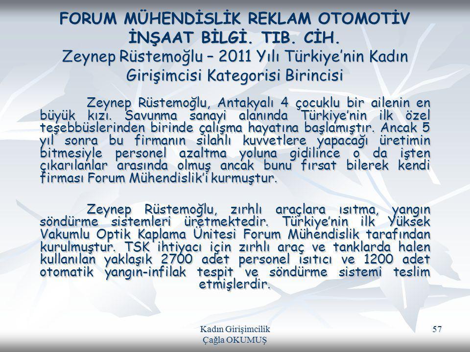 Kadın Girişimcilik Çağla OKUMUŞ 57 FORUM MÜHENDİSLİK REKLAM OTOMOTİV İNŞAAT BİLGİ. TIB. CİH. Zeynep Rüstemoğlu – 2011 Yılı Türkiye'nin Kadın Girişimci