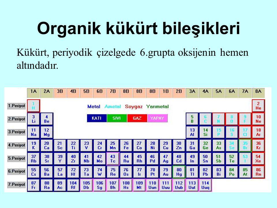 Organik kükürt bileşikleri Kükürt, periyodik çizelgede 6.grupta oksijenin hemen altındadır.