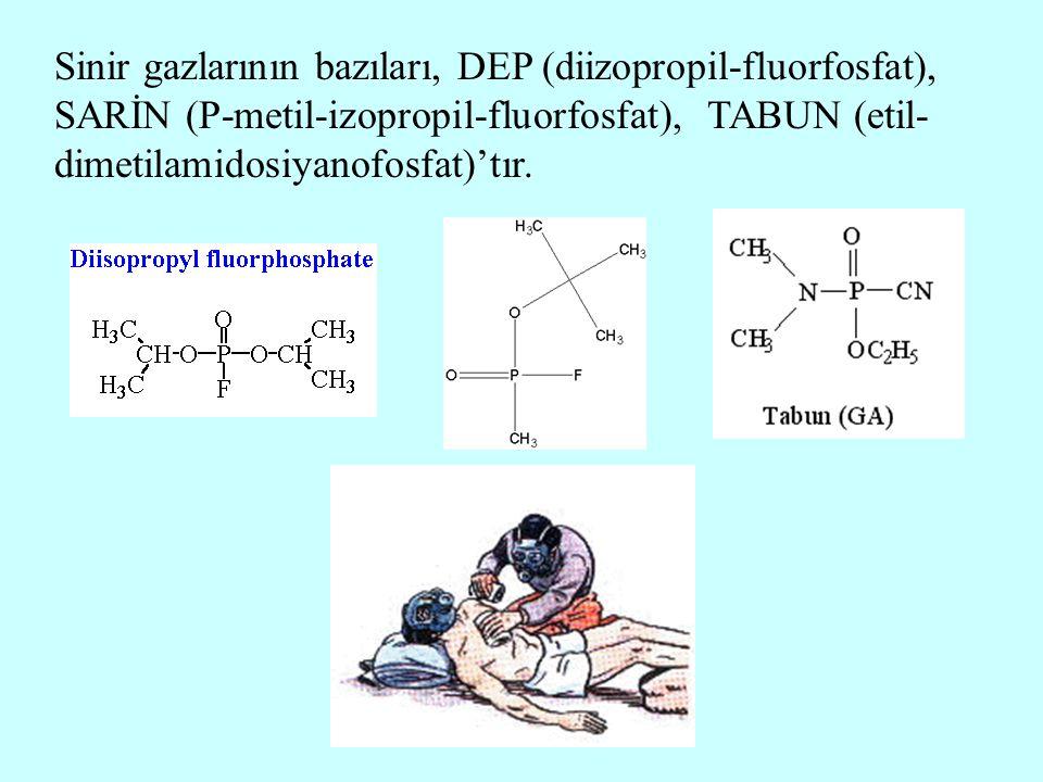 Sinir gazlarının bazıları, DEP (diizopropil-fluorfosfat), SARİN (P-metil-izopropil-fluorfosfat), TABUN (etil- dimetilamidosiyanofosfat)'tır.