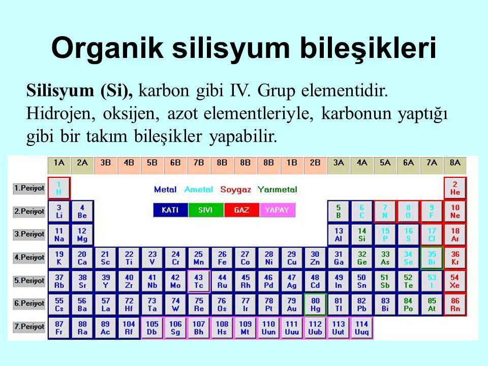 Organik silisyum bileşikleri Silisyum (Si), karbon gibi IV. Grup elementidir. Hidrojen, oksijen, azot elementleriyle, karbonun yaptığı gibi bir takım