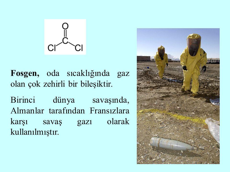 Fosgen, oda sıcaklığında gaz olan çok zehirli bir bileşiktir. Birinci dünya savaşında, Almanlar tarafından Fransızlara karşı savaş gazı olarak kullanı