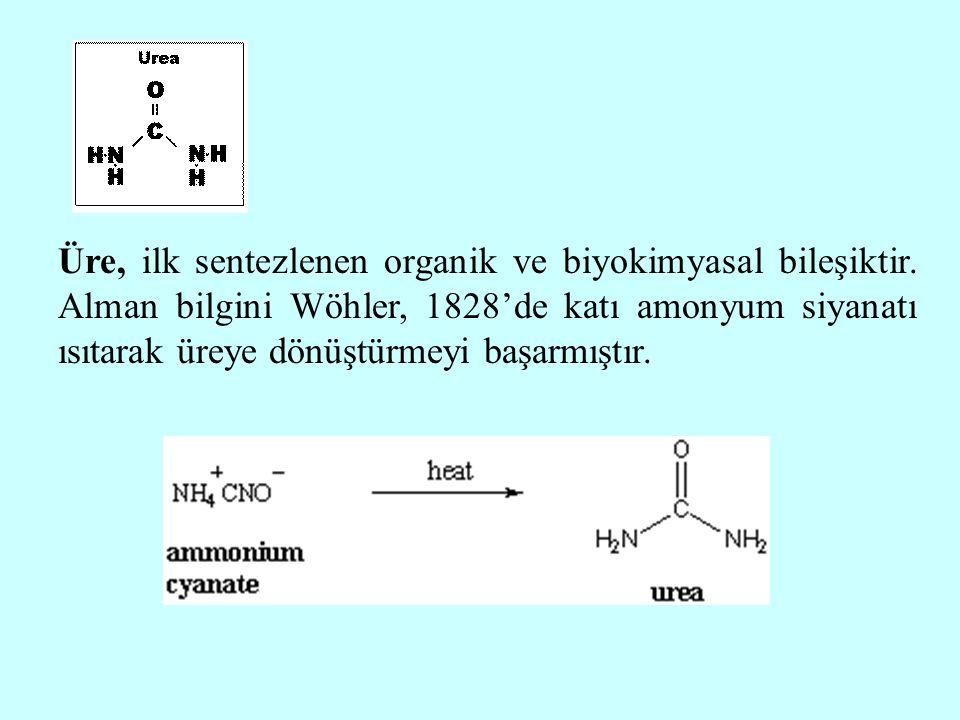 Üre, ilk sentezlenen organik ve biyokimyasal bileşiktir. Alman bilgini Wöhler, 1828'de katı amonyum siyanatı ısıtarak üreye dönüştürmeyi başarmıştır.
