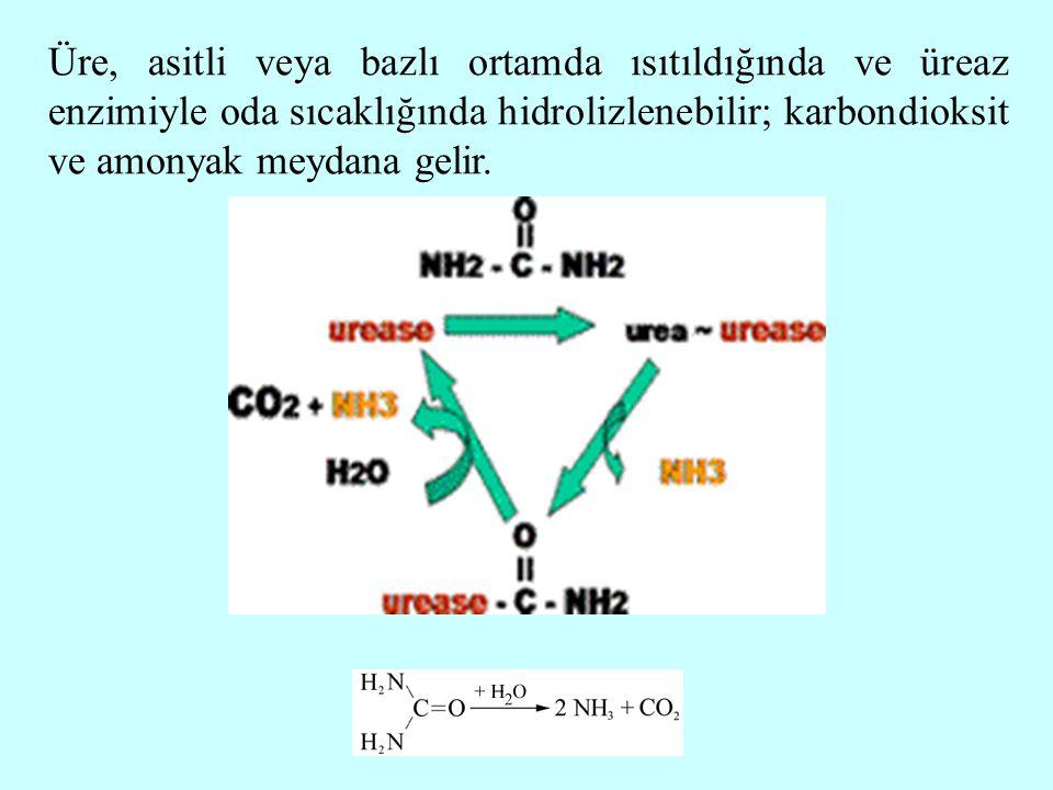 Üre, asitli veya bazlı ortamda ısıtıldığında ve üreaz enzimiyle oda sıcaklığında hidrolizlenebilir; karbondioksit ve amonyak meydana gelir.