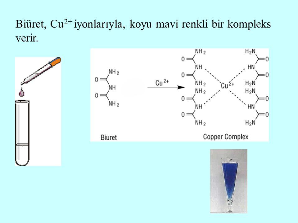 Biüret, Cu 2+ iyonlarıyla, koyu mavi renkli bir kompleks verir.
