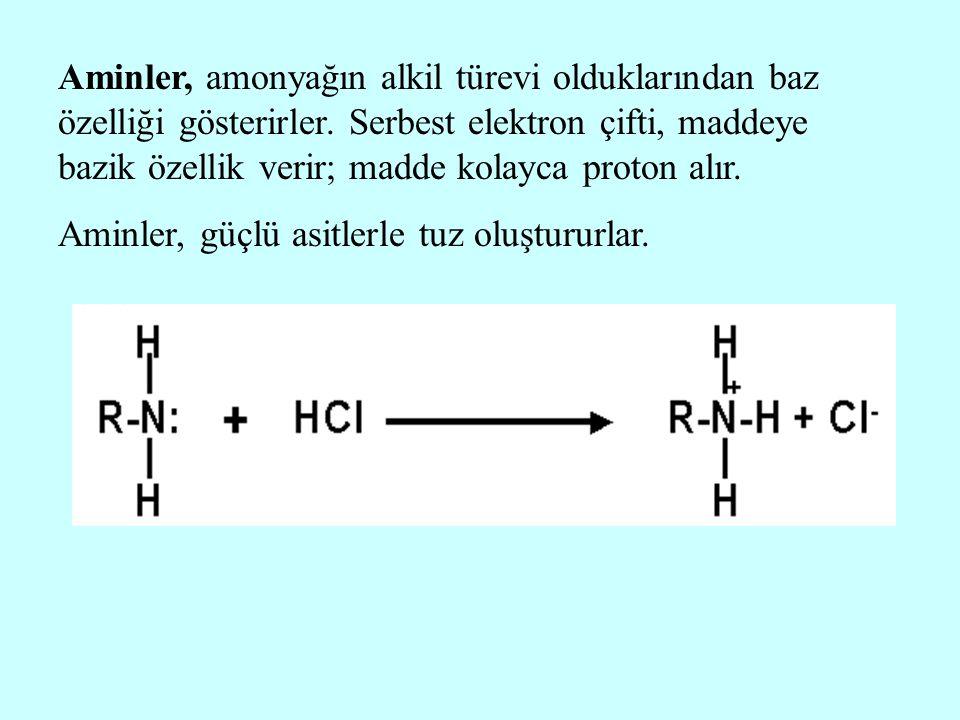 Aminler, amonyağın alkil türevi olduklarından baz özelliği gösterirler. Serbest elektron çifti, maddeye bazik özellik verir; madde kolayca proton alır
