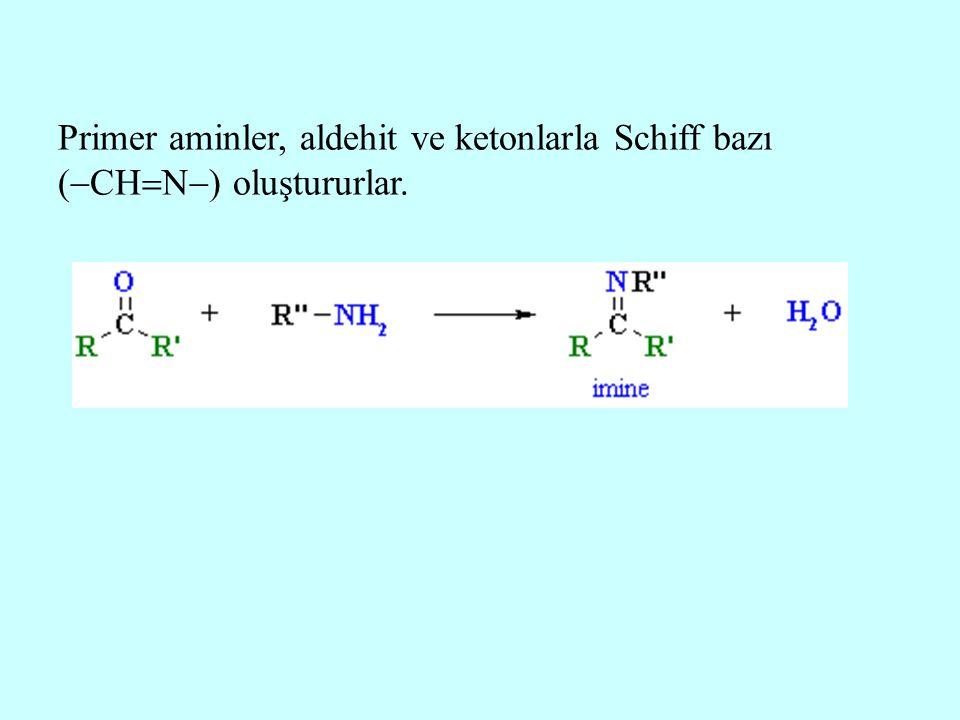 Primer aminler, aldehit ve ketonlarla Schiff bazı (  CH  N  ) oluştururlar.