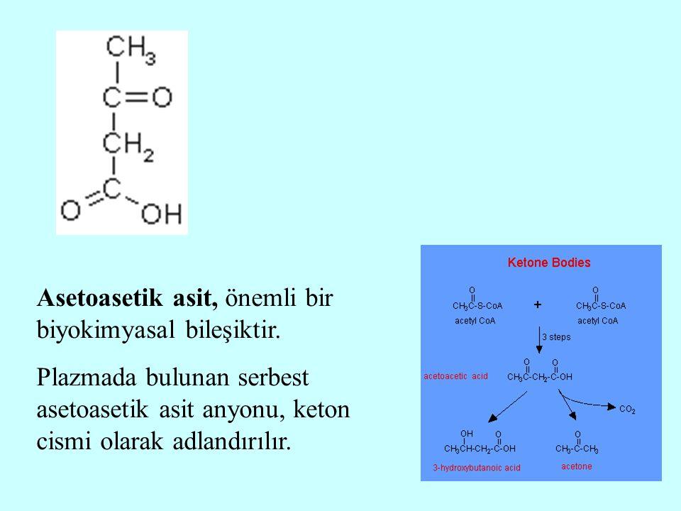 Asetoasetik asit, önemli bir biyokimyasal bileşiktir. Plazmada bulunan serbest asetoasetik asit anyonu, keton cismi olarak adlandırılır.
