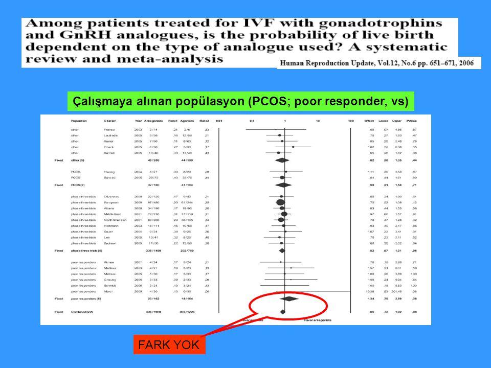 Çalışmaya alınan popülasyon (PCOS; poor responder, vs) FARK YOK