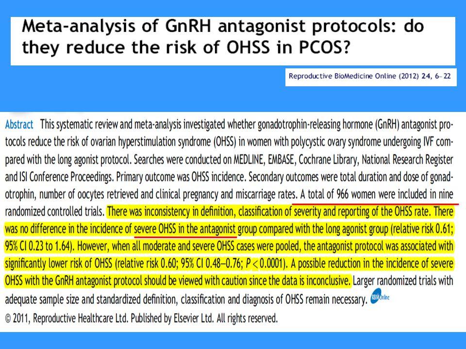 9 RKÇ 588 Gnrh long agonist vs 554 GnRH Antagonist Devam eden gebelik oranları Ciddi OHSS FARK YOKAntagonist daha iyi OR:1.56 (CI:0.29-8.51 %95)