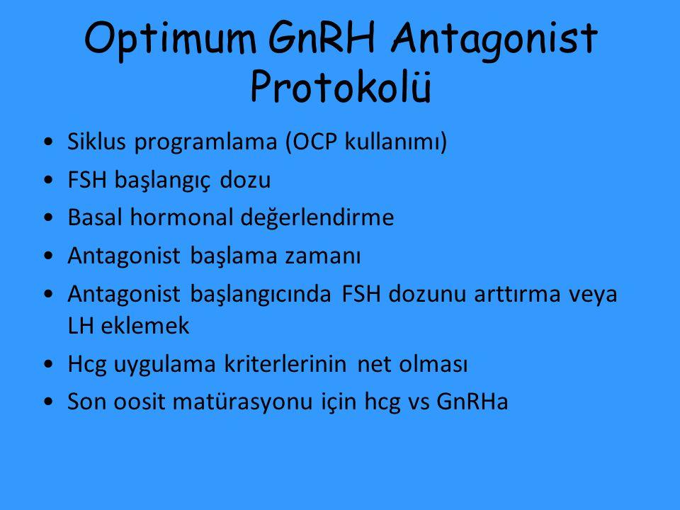 Optimum GnRH Antagonist Protokolü Siklus programlama (OCP kullanımı) FSH başlangıç dozu Basal hormonal değerlendirme Antagonist başlama zamanı Antagon