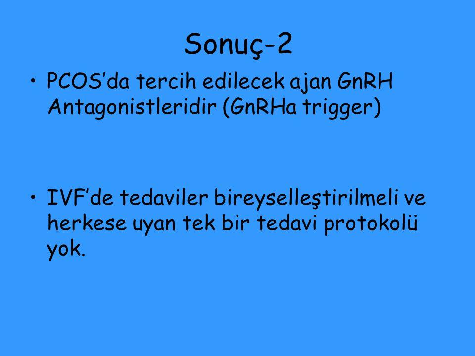 Sonuç-2 PCOS'da tercih edilecek ajan GnRH Antagonistleridir (GnRHa trigger) IVF'de tedaviler bireyselleştirilmeli ve herkese uyan tek bir tedavi proto
